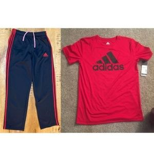 Red black adidas tee shirt + track sweat pants set